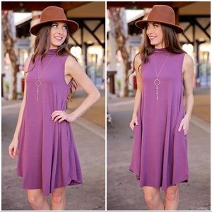 Eggplant Mock Neck Swing Dress with Pockets